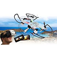 Jamara Angle 120 Altitude HD Wifi VR, inkl. VR-Brille, Altitude Hold Adjustment, Kompass/Flyback, Track Following - Flugbahn-Planung-Modus,120° Weitwinkel-Kamera,Unterspannungswarnung,40 KM/h