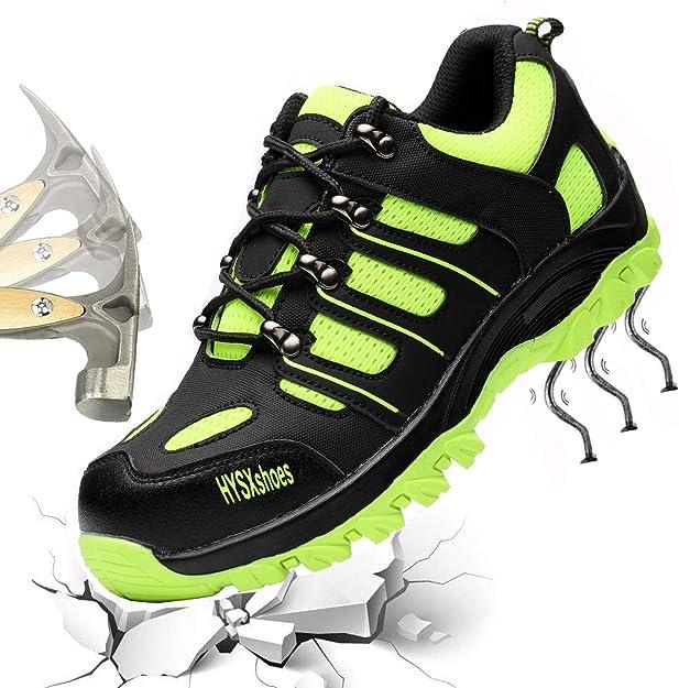 Zapatos de Seguridad para Hombres Zapatos de Acero con Punta de Seguridad, Zapatillas Deportivas Ligeras e Industriales Transpirables, Verde 46: Amazon.es: Zapatos y complementos