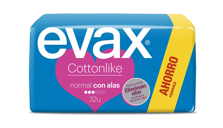 Evax Cottonlike Compresas con Perlas Activas, Alas Normales - 32 Unidades: Amazon.es: Amazon Pantry