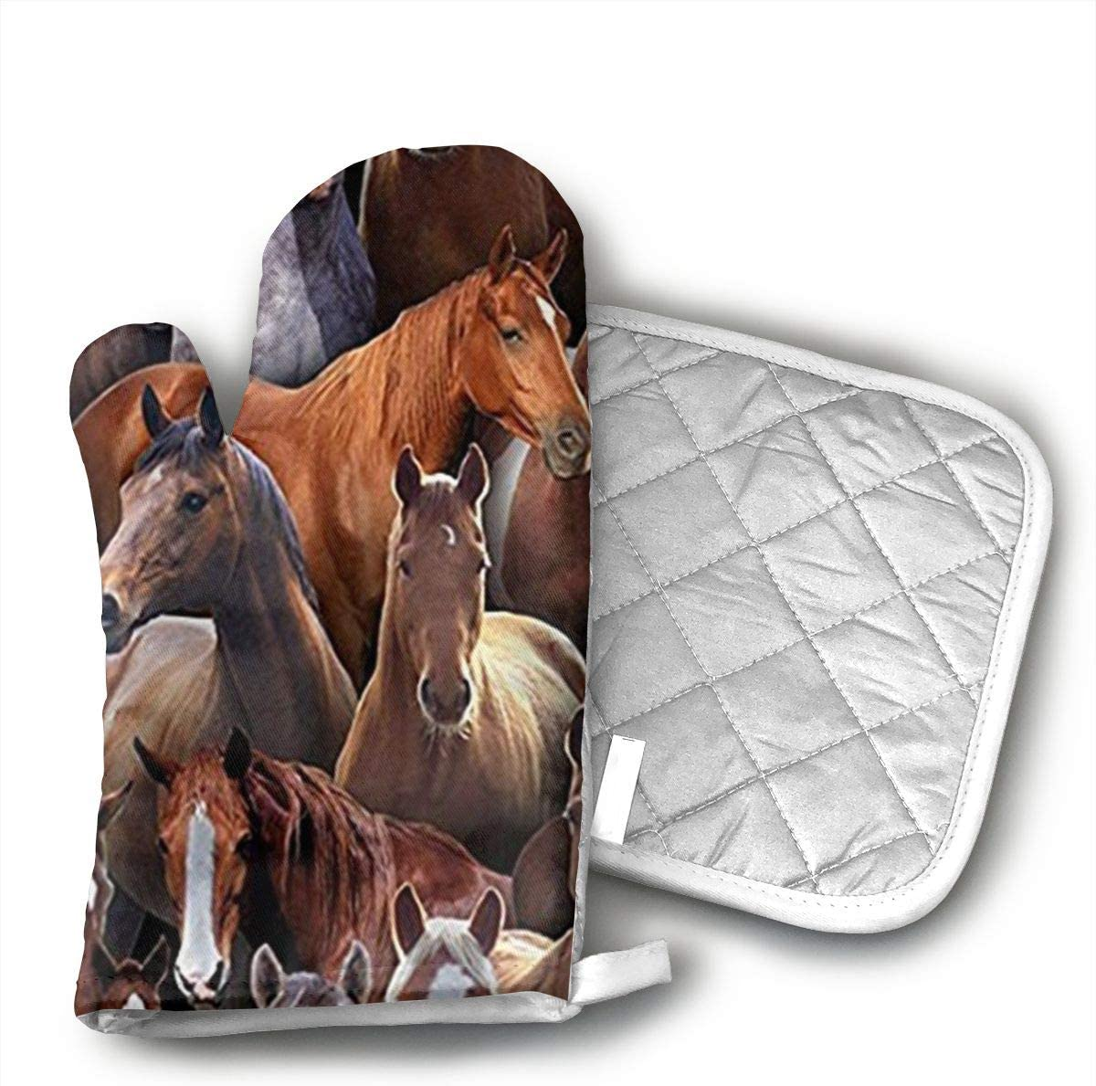 Teuwia Farm Life Black Horses Oven Mitts and Pot Holders Baking Oven Gloves Hot Pads Set Heat Resistant for Finger Hand Wrist Protection