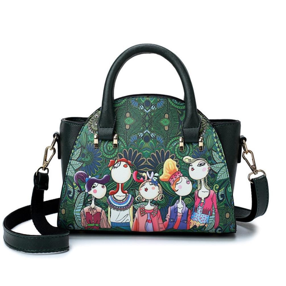 SanCanSn Crossbody Bags, Women Forest Girls Pattern Printing Single Shoulder Bag Handle Zipper Handbag (1PC, Green) by SanCanSn (Image #2)