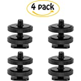 "Camera 1/4""-20 Flash Hot Shoe Mount Adapter w/ Double Nuts to Tripod Screw Converter for DSLR Camera Rig Monitor LED Video Light (4 Pack)"