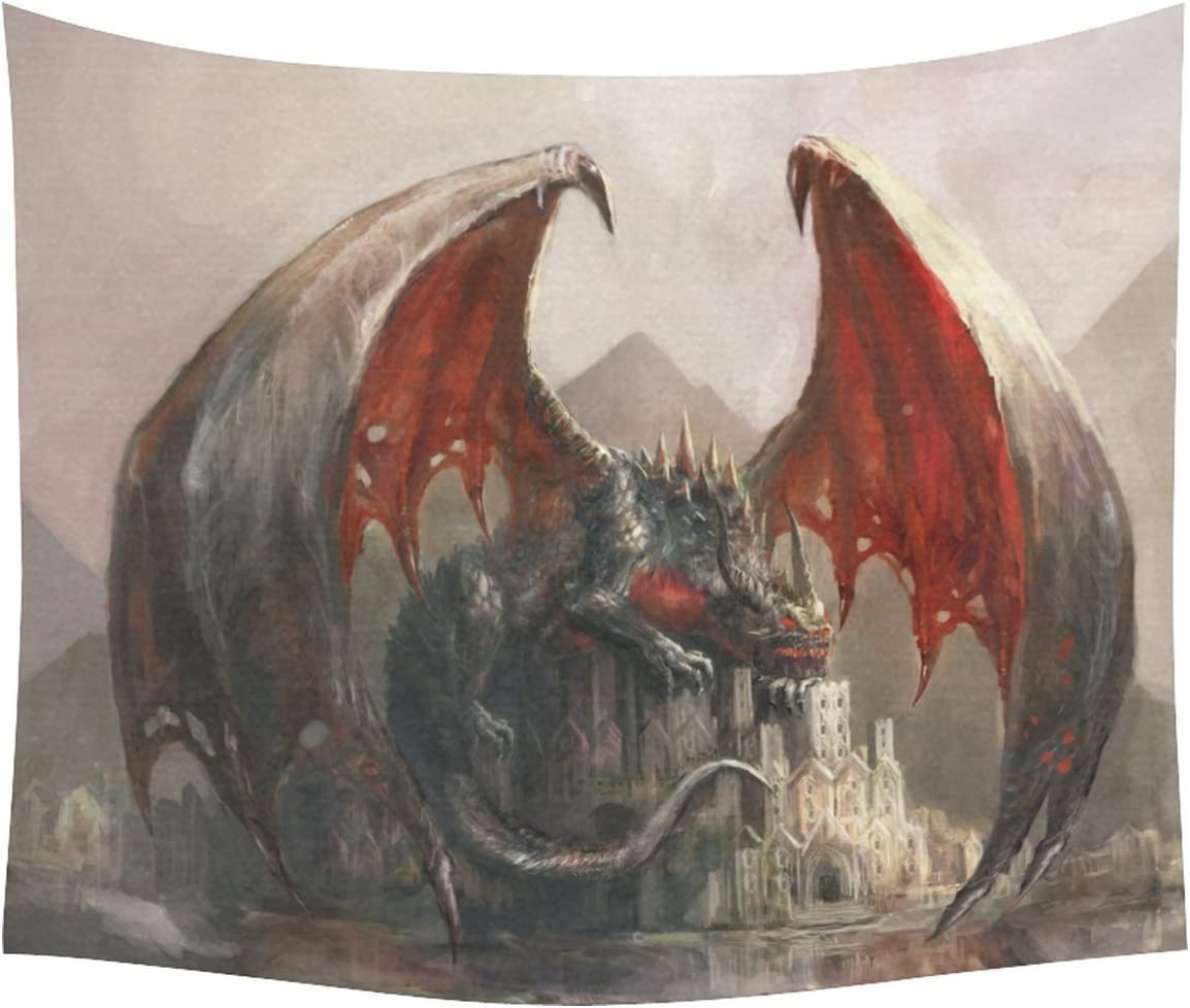 INTERESTPRINT Cool Fantasy Landscape Home Decor Tapestries Wall Art,Dragon Castle Tapestry Wall Hanging Art Sets 60 X 51 Inches