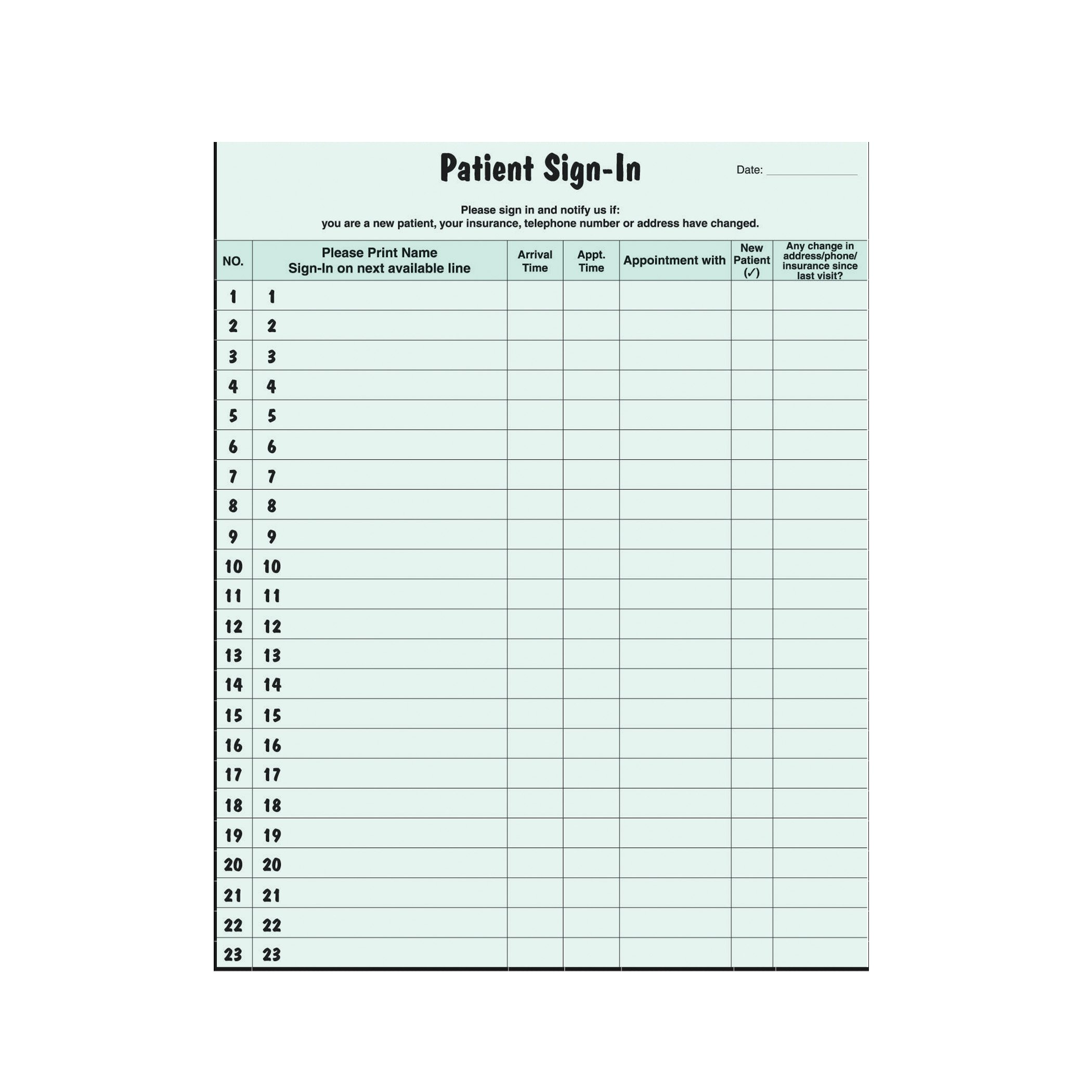 AMZfiling Patient Sign in Sheet (Green)- HIPAA Compliant, 250/Package