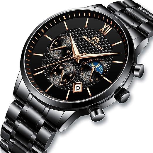 Relojes de Hombre Relojes de Pulsera Military Impermeable Negocios Diseño Lujo de Acero Inoxidable Negro Reloj para Hombres Cronógrafo Calendariode ...