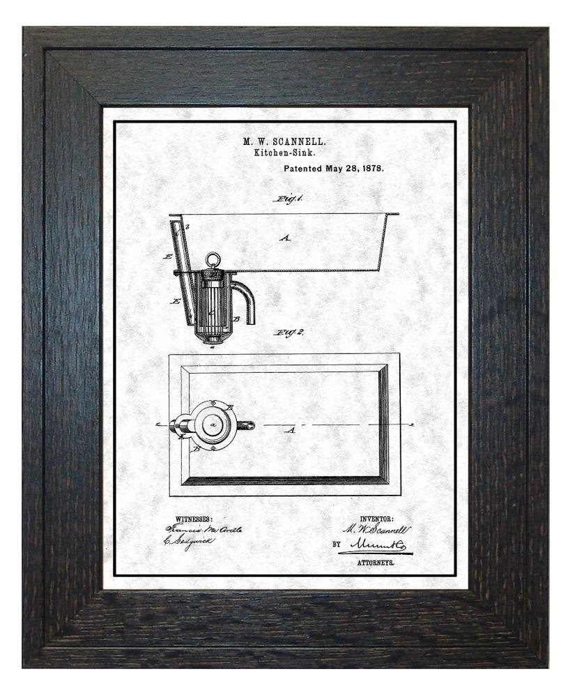 Amazon.com: Kitchen Sink Patent Art Golden Look Print with a Border ...