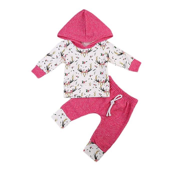 Amazon.com: Baby Girl 2pcs Outfit Set Floral y ciervos ...