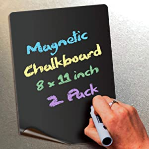 Magnetic Chalkboard Notes - 8 x 11 inch, 2 Pack - Decorative Magnet Blackboard for Fridge, Kitchen Organizer, Decor, Office, Grocery Lists, Metallic Boxes, Storage and More