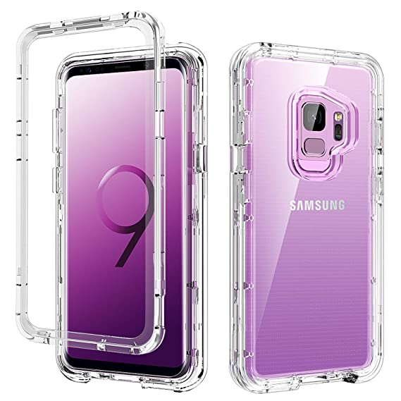 huge selection of 292c7 fbf18 S9 Case Clear,Galaxy S9 Case,DUEDUE 3 in 1 Shockproof Drop Protection Heavy  Duty Hybrid Hard PC Cover Transparent TPU Bumper Full Body Protective ...