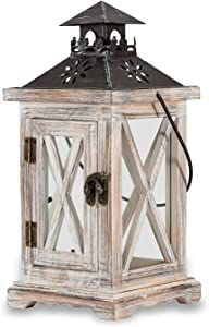 Vintage Decorative Lanterns Candle Holder - Wooden Rustic Candlestick Farmhouse Wedding Centerpiece Lantern for Table Top Mantle Wall Home Indoor and Outdoor Decor