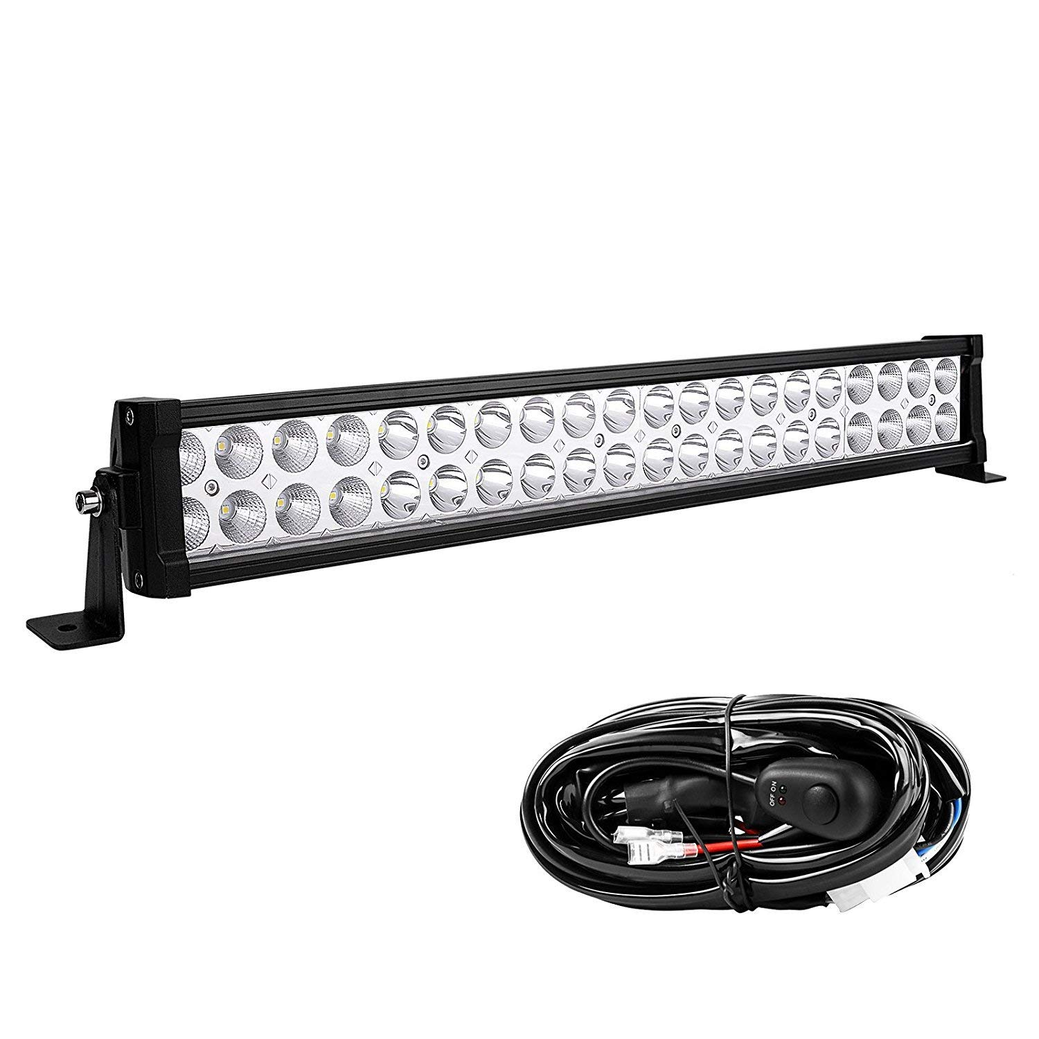 YITAMOTOR 24 Inch Light Bar Offroad Spot Flood Combo Led Bar Waterproof Dual Row LED Work Light with Wiring Harness compatible for Truck 4X4 LED Light Bar 120W White Jeep Boat ATV