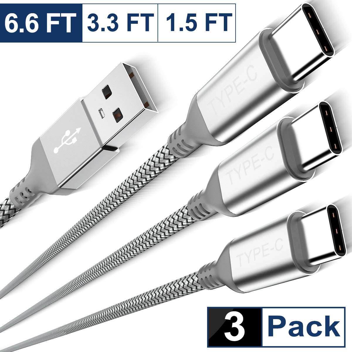 USB Type C Charger Cable 3-Pack (1.5/3.3/6.6 FT),Nylon Braided Charging Cord,Works with Samsung Galaxy Fold Note 9 8 S10 S9 S8 S10E 10 10E Plus,LG V50 V40 G8 G7 Thinq,Google Pixel 3 3a 2 XL,Moto Z4 Z3 by Elebase