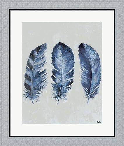 Amazon.com: Indigo Blue Feathers II by Patricia Pinto Framed Art ...