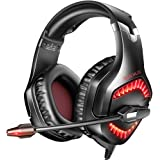 RUNMUS Gaming Headset PC Headset with 7.1 Surround Sound, Noise Canceling PS4 Headset with Mic & LED Light, Compatible with P