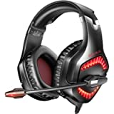 RUNMUS Gaming Headset PC Headset with 7.1 Surround Sound, Noise Canceling PS4 Headset with Mic & LED Light, Compatible…