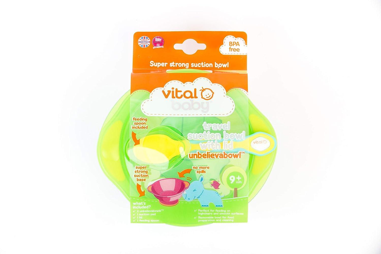/Vert et turquoise avec couvercle et cuill/ère Vital Baby Unbelievabowl Voyage Aspiration Bol 2pk /