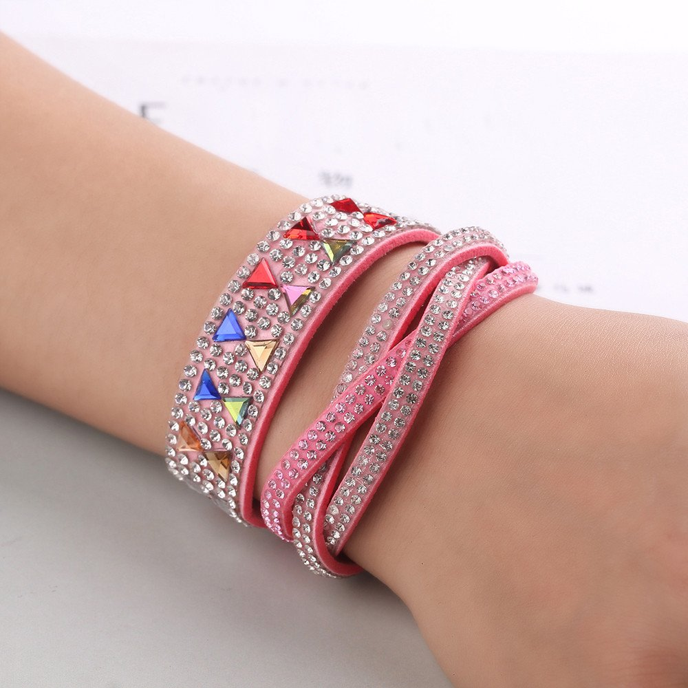 DENER Colorful Faux Leather Adjustable Alloy Multilayer Rope Braided Accessories Bangle Bracelet