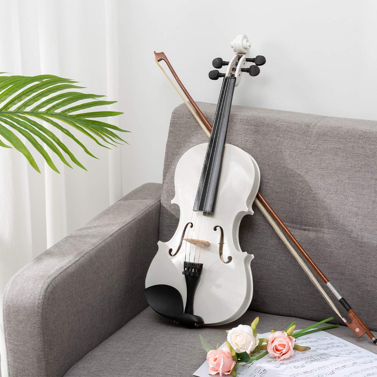 ARTALL 4/4 Handmade Student Acoustic Violin Beginner Pack with Bow, Hard Case, Chin Rest, Tuner, Spare Strings, Rosin and Bridge, Glossy White by ARTALL (Image #2)
