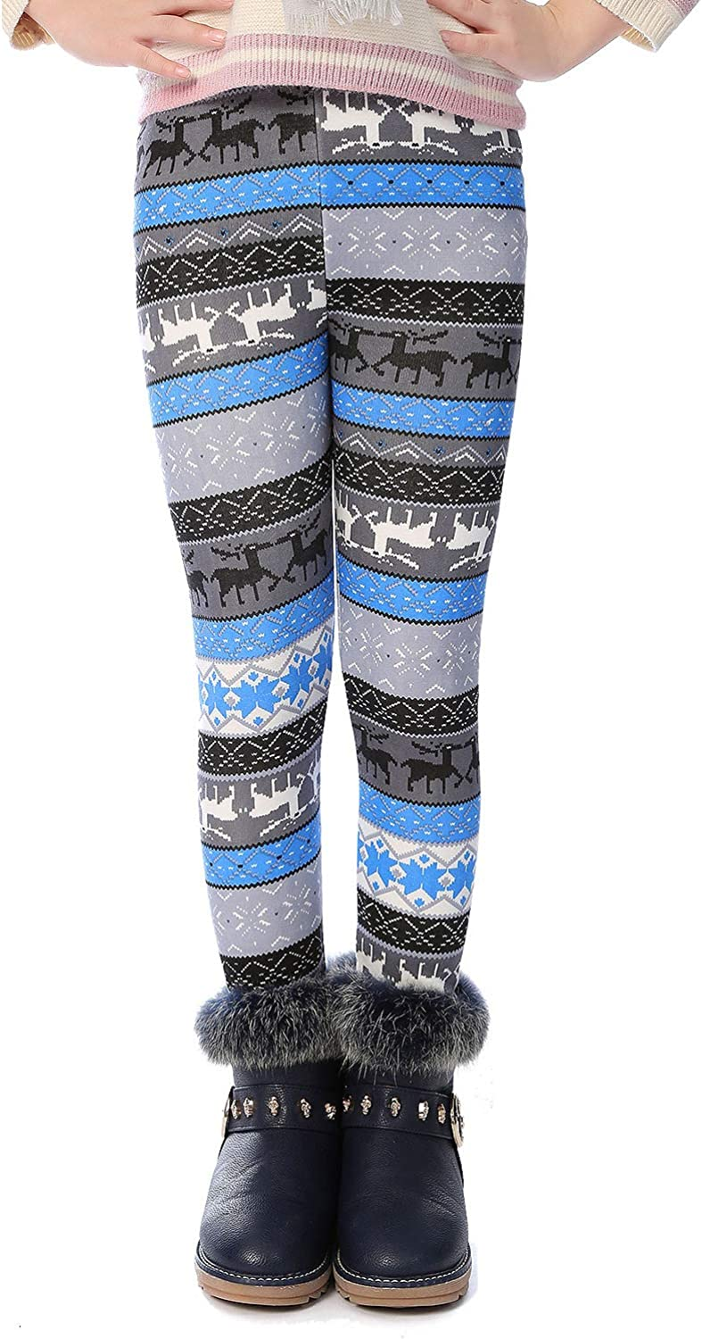 BOOPH Girl Winter Thick Warm Pant Printing Fleece Lined Legging Tight 2-10 Years