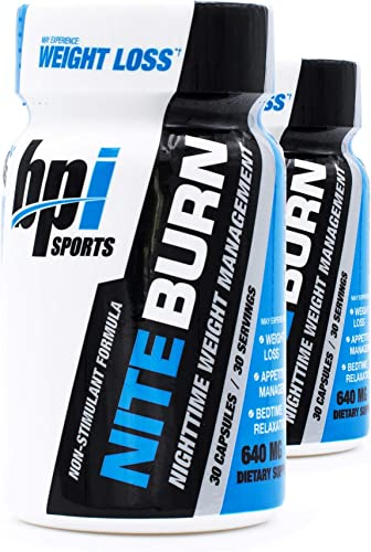 BPI Sports Nite Burn Nighttime Weight Management Formula LimitedQuantity 640 MG 30-Count Pack of 2
