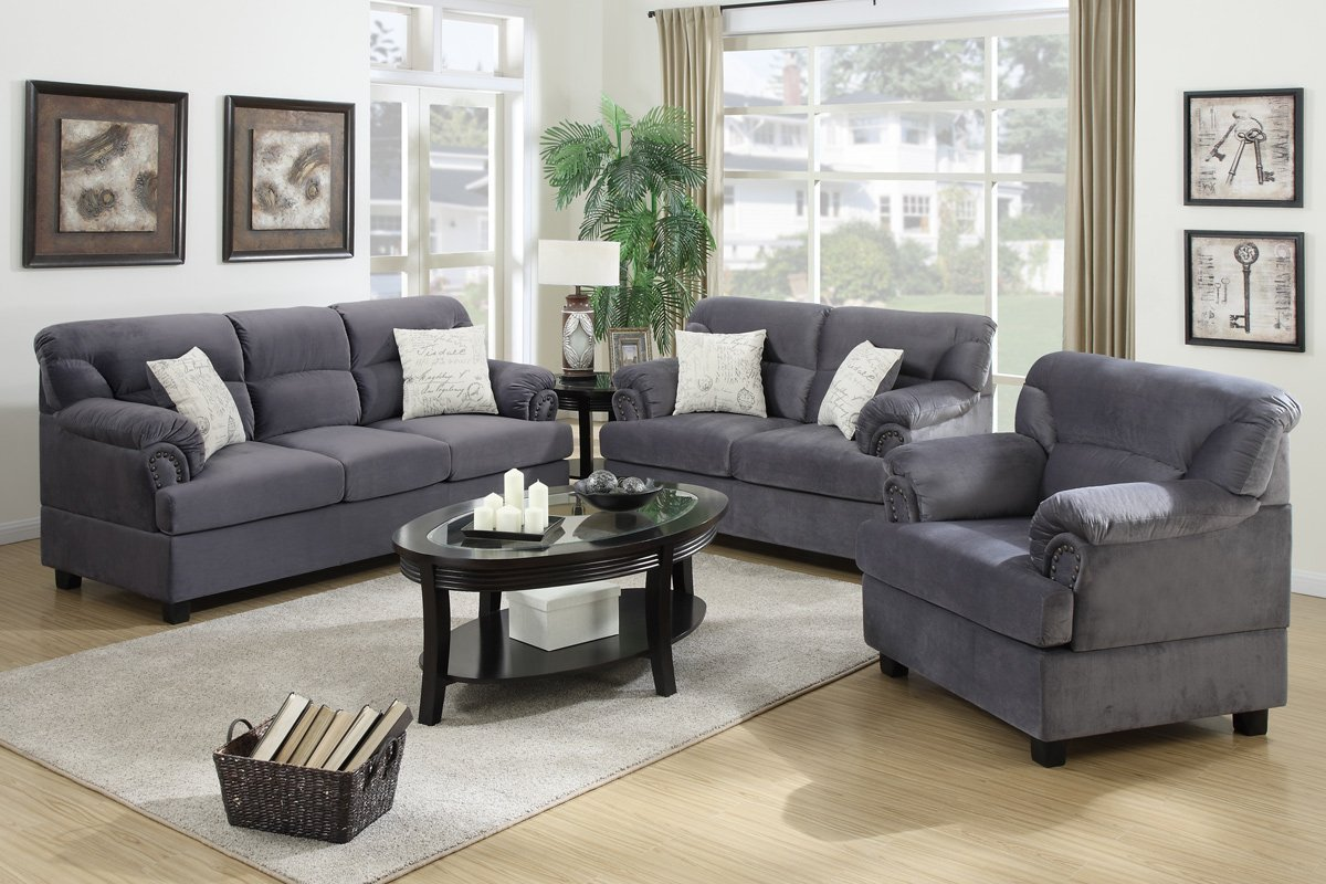 Amazon.com: 3Pcs Modern Grey Microfiber Sofa Loveseat Chair ...
