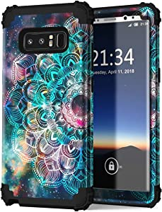 Hocase Galaxy Note 8 Case, Heavy Duty Shockproof Hard Plastic+Silicone Rubber Bumper Dual Layer Protective Case for Samsung Galaxy Note 8 (SM-N950) 2017 - Mandala in Galaxy