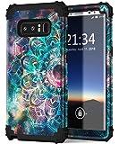 Galaxy Note 8 手机壳,Hocase 防震重型混合硅胶橡胶保险杠+硬壳全机身保护手机壳带可椭圆形牡丹花印花适用于三星 Galaxy Note 8 (2017)4351574632 Mandala in Galaxy