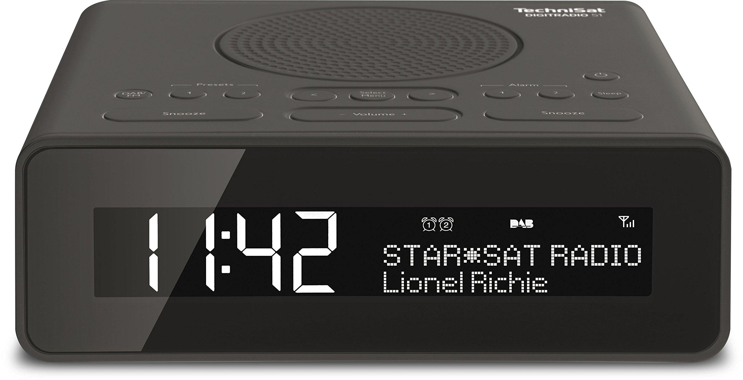 TechniSat DIGITRADIO 51 Digital-Radio, Uhrenradio, Radiowecker mit Zwei einstellbaren Weckzeiten, Snooze-Funktion, Sleeptimer, dimmbares Display, Kopfhöreranschluss, schwarz product image