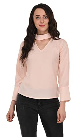 4cd139b7fefcd5 Moderno™ Light Peach A Line Band Collar Formal Top For Women Peach Color X  Large
