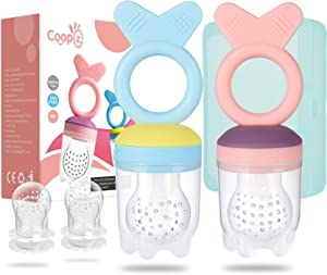 Coopzero Baby Food Feeder/Fruit Feeder Pacifier (2 Pack),Fresh Food Feeder,Infant Fruit Teething Toy for Toddlers & Kids(All Silicone Design) BPA Free