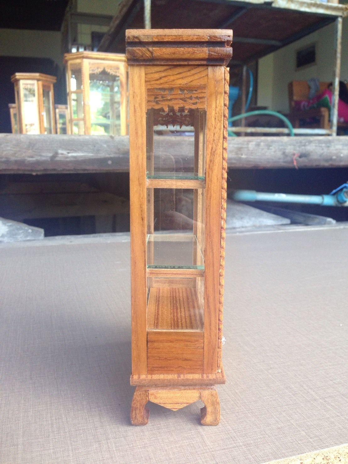 Mini Vintage Cupboard Teak Wood Cabinet Craft Handmade Carved Thai Furniture