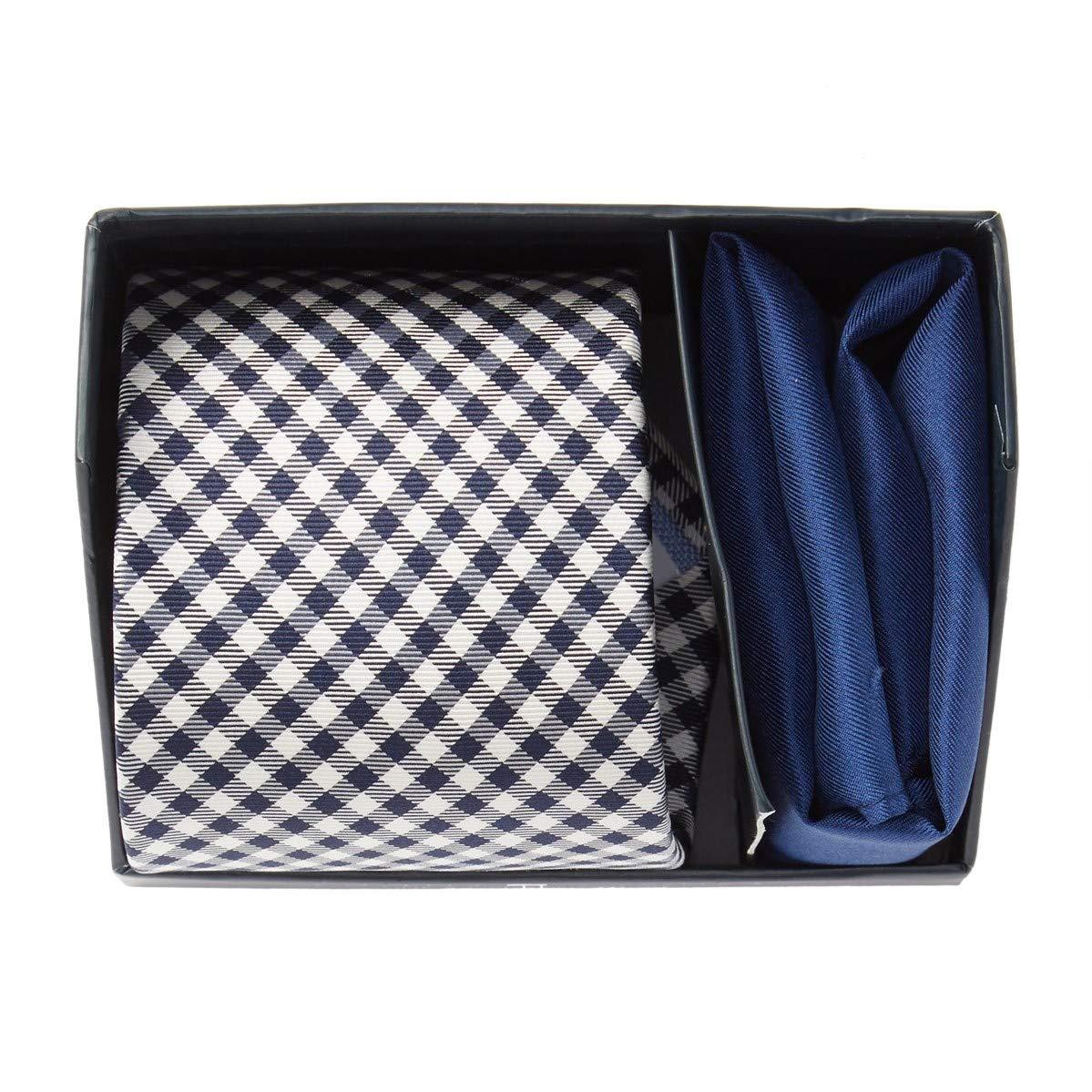 Tommy Hilfiger Mens Gingham Tie /& Pocket Square Set