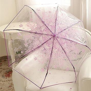 LYYUMBRELLAS Paraguas Romántica Flores de Cerezo Tres Sombrilla Plegable Paraguas Transparente Primavera y Verano Moda Versión