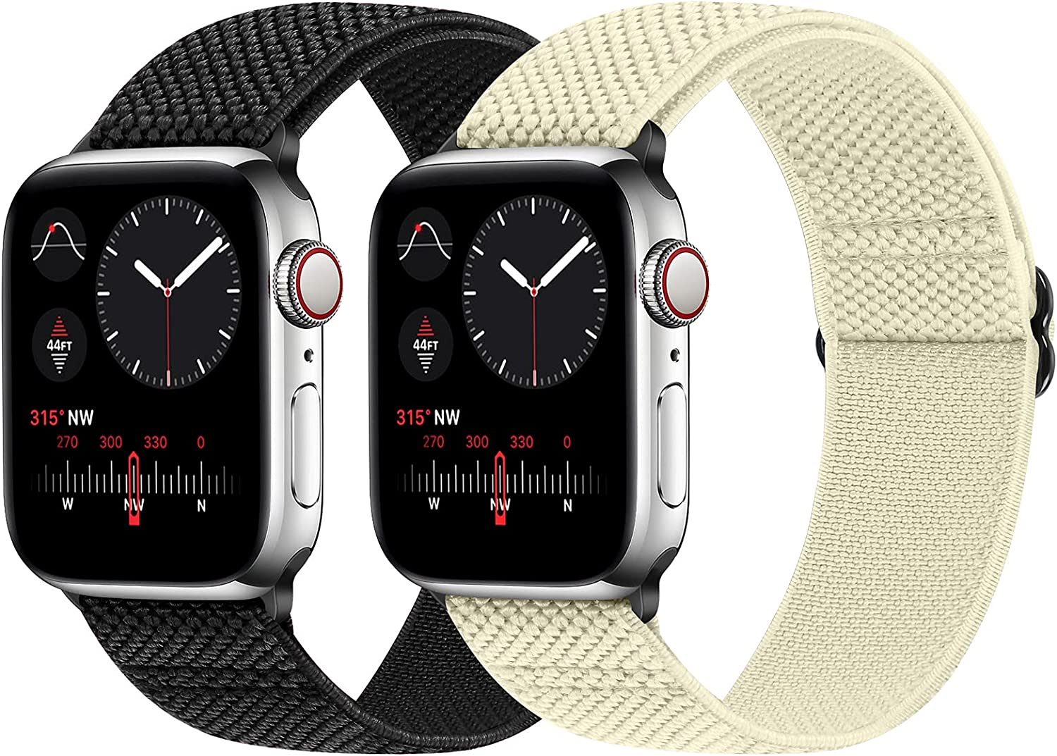 WNIPH Stretchy Nylon Solo Loop Bands Compatible with Apple Watch 44mm/42mm/40mm/38mm, Adjustable Elastic Braided Sports Replacement Wristband for iWatch Series 6/5/4/3/2/1 SE Women Men