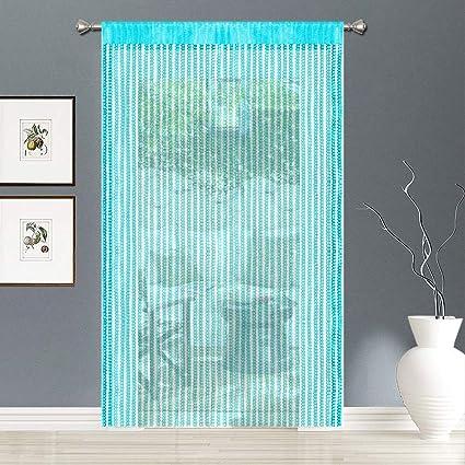 Aizesi 2 Pièce Porte Rideau Cuisine Bleu Rideau Chambre Enfant Rideaux Voilage Anti Insecte Mouche Moustique Rideau 90x200cm Pour