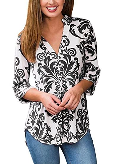 BESTHOO Moda Blusa Mujeres Manga Larga T-Shirt Ocasionales Tops De Cuello En V Camisetas Flores Impresa Blusas Elegantes: Amazon.es: Ropa y accesorios