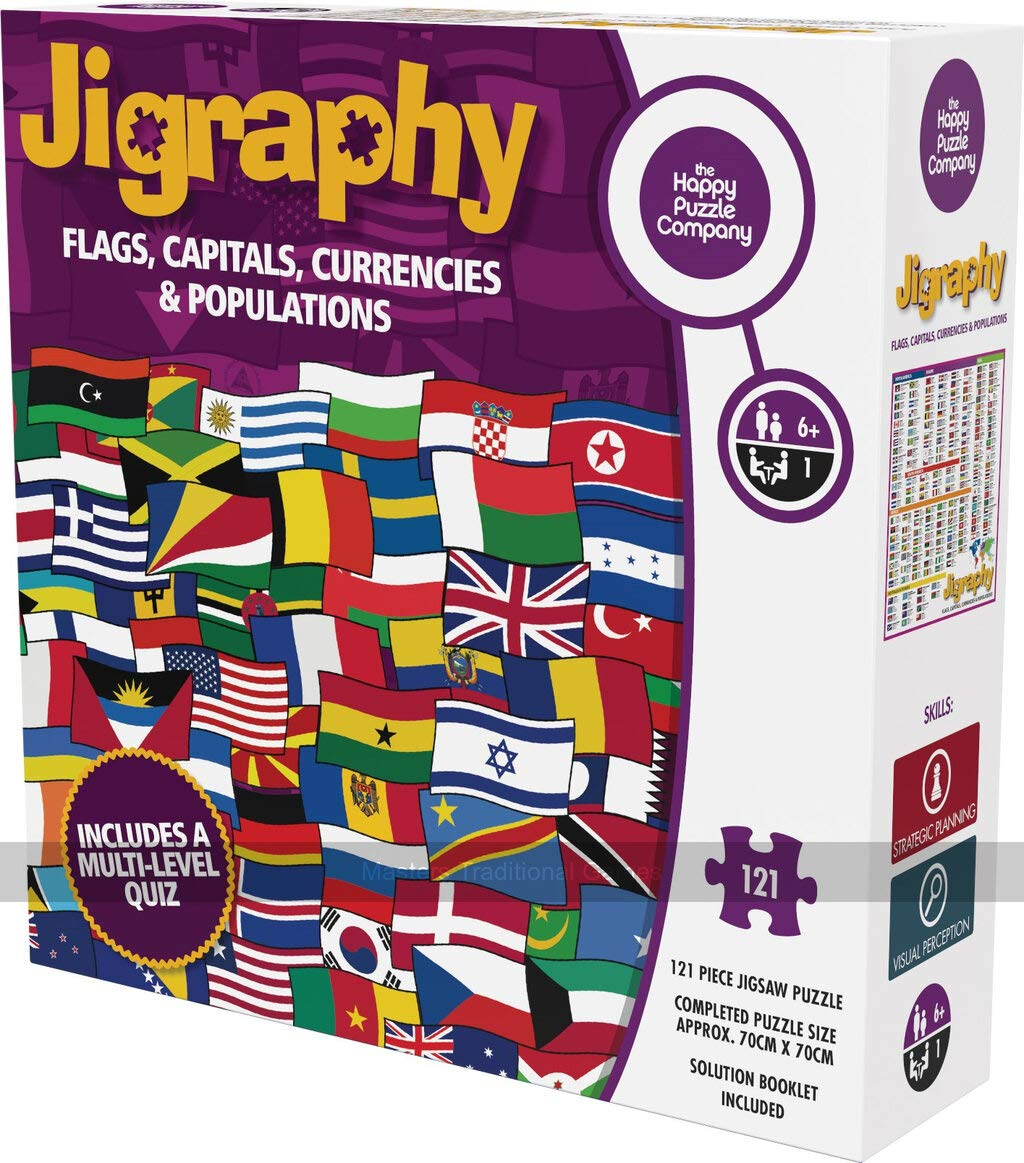 Jigraphy: Flags, Capitals, Currencies & Populations by The Happy Puzzle Company