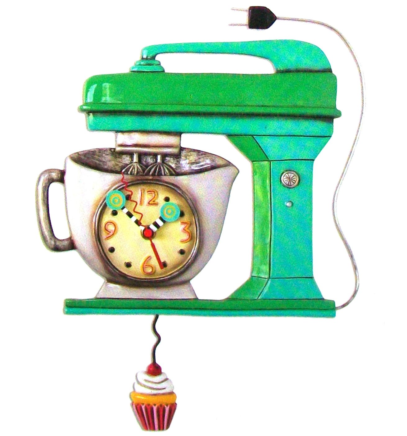 "Allen Design Studios ""Vintage Mixer Green"" Mixer Kitchen Wall Clock"