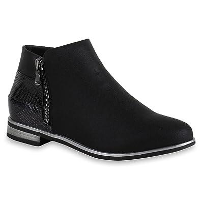 new product 438b2 e1393 Stiefelparadies Damen Stiefeletten Ankle Boots mit Blockabsatz Zipper  Nieten Flandell