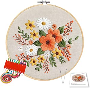 Embroidery Patterns for Beginners - DIY Cross Stiching Starter Kit with Embroidery Fabric Embroidery Hoop, Color Threads, Tools Crewel Kits (Spring Flowers)