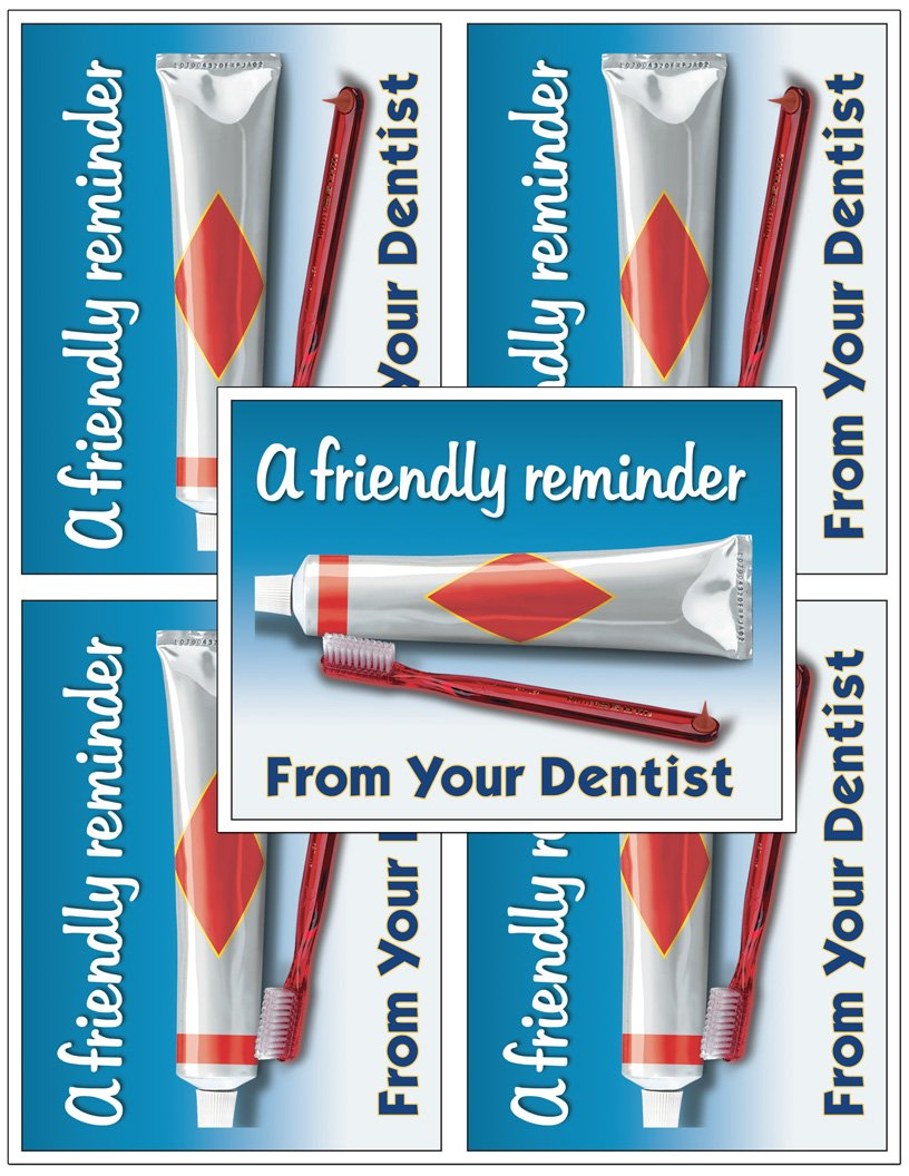 Laser Reminder Postcards, Dental Appointment Reminder Postcards. 4 Cards Perforated for Tear-off at 4.25'' x 5.5'' on an 8.5'' x 11'' Sheet of 8 Pt Card Stock. (2500)