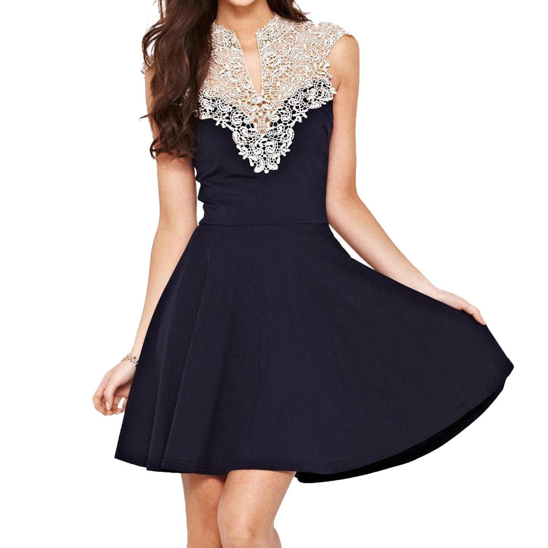 SUNNOW® Elegant Damen Sommerkleid Schnüren V-Ausschnitt Spitze Rückenfrei ärmellos Partykleid Cocktailkleid Abendkleid