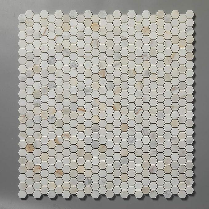 1x3 inch Herringbone Diflart Calacatta Gold Mosiac Tile 5 sqft Backsplash Tile for Kitchen Bathroom Polished Pack of 5