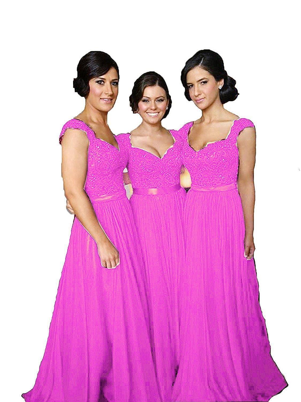 purplec Future Girl Women's Lace Bridesmaid Dresses Cap Sleeve Long Wedding Party Gowns