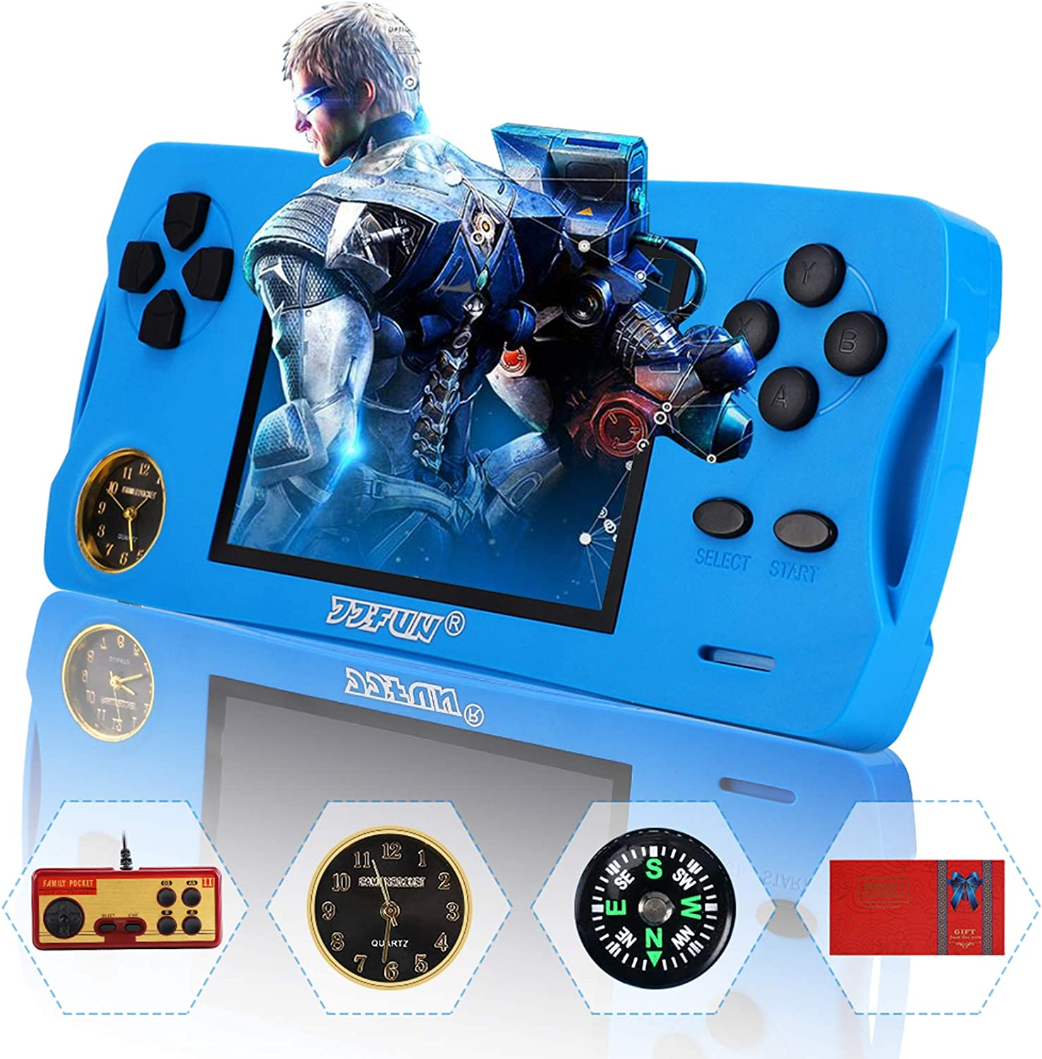 """JJFUN Retro Arcade Handheld Games Console for Boys Girls, Built-in 480Childhood Games 3.5"""" Screen AV-Out Video Game Player with Free 32G TF Card, Family-Friendly Party Games Birthday Gift Toys-Blue"""