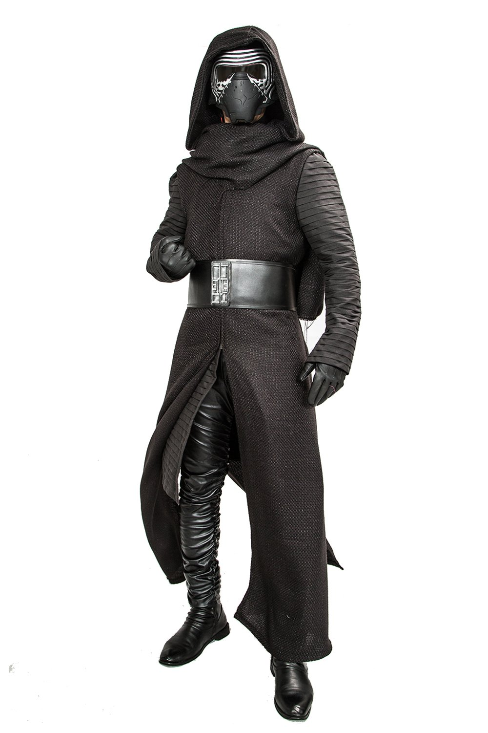 Halloween Kylo Ren Hooded Robe & Under Tunic & Gloves & Scarf & Belt Outfit Costume L