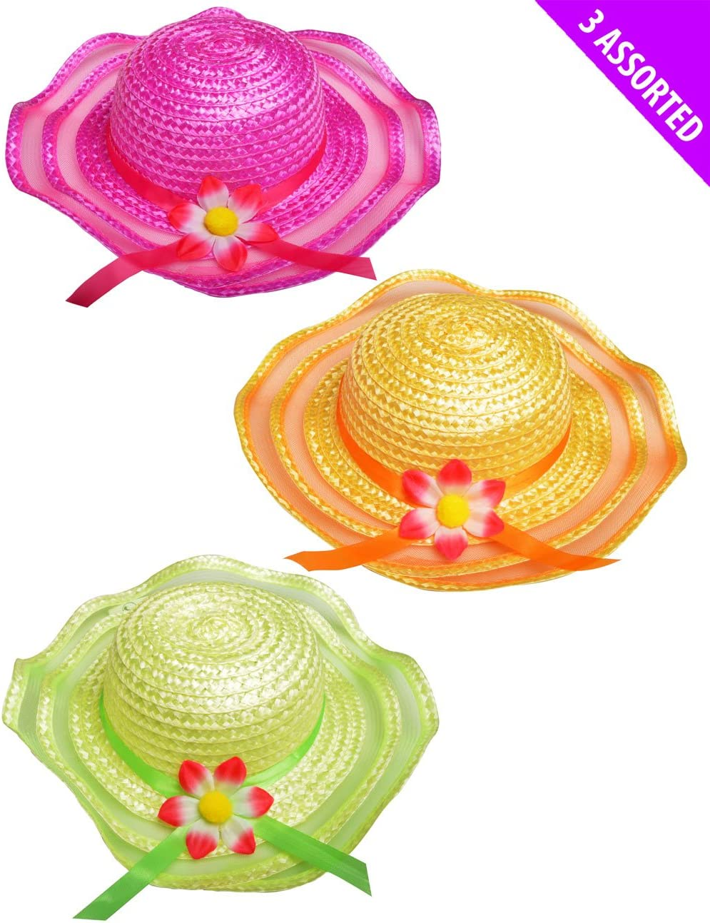 Girls Easter Bonnet Summer Holiday Flower /& Ribbon Childrens Sun Hat Green