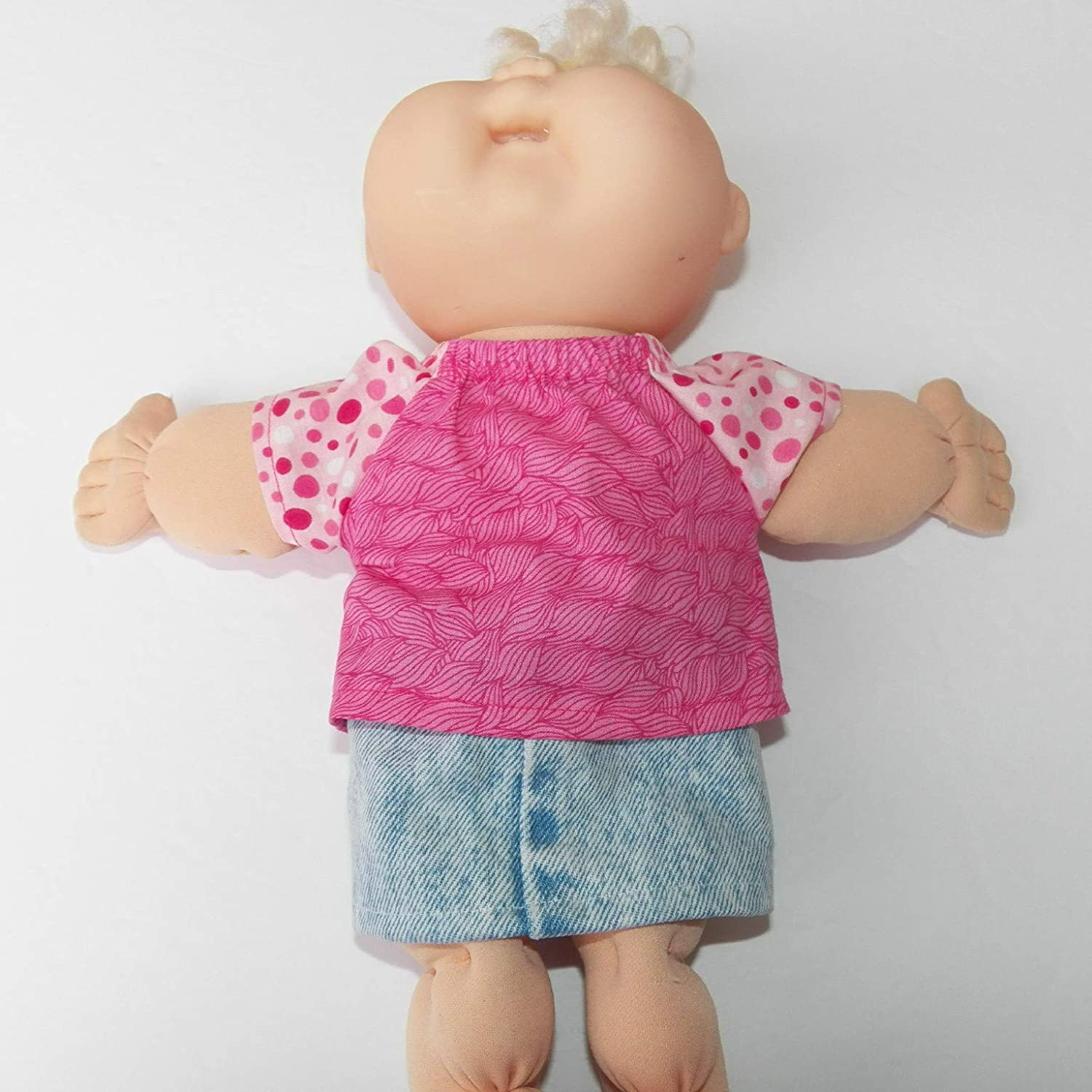 Cabbage Patch Doll Clothes 12 Inch Size Pink Blouse and Denim Skirt Clothes Only