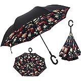 XIAOMEI Inverted Umbrellas Double Layer Car Travel Outdoor Golf Rain Umbrella Windproof UV Protection Large Reverse Umbrella witn C-Shaped Handle
