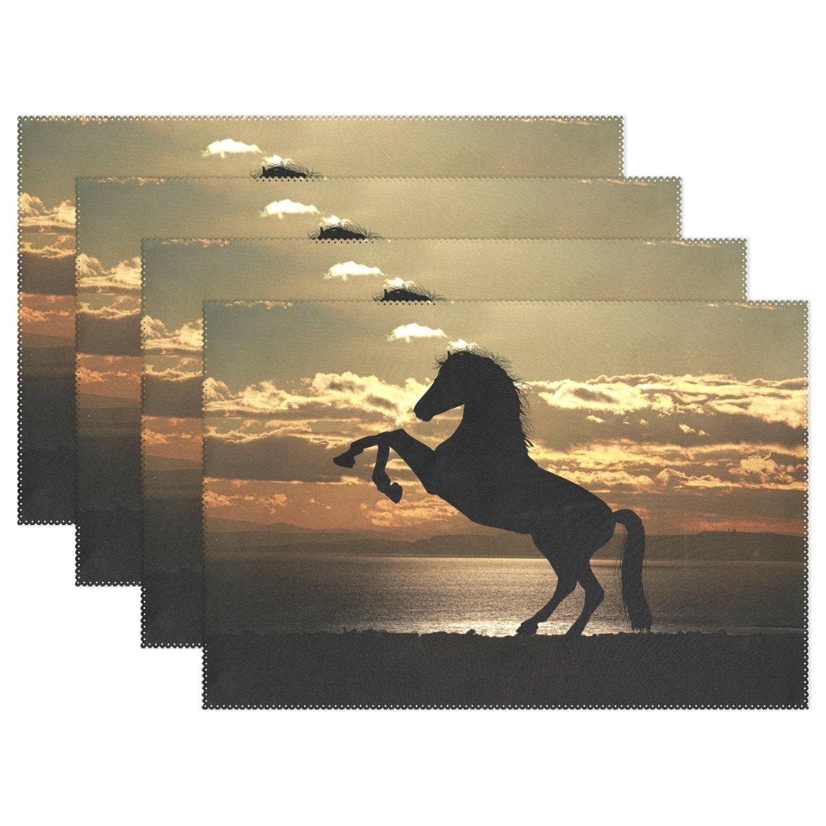 Horse [印刷サンセット、プレースマットalirea耐熱プレースマット汚れ防止滑り防止洗濯可能ポリエステルテーブルマット非スリップEasy Cleanプレースマット、12